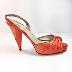 Auth. Oscar de la Renta Coral Patent Leather Heels